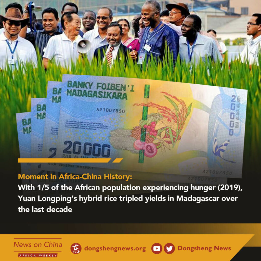 With ⅕ of the African population experiencing hunger (2019), Yuan Longping's hybrid rice tripled yields in Madagascar over the last decade